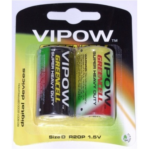 BATERIA VIPOW GREENCELL R20 blister